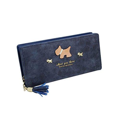 GoGou Casual Bifold Lange Geldbörse Geldbörse Leder Kartenhalter Hund Muster Geld Clip mit Quaste für Frauen (Sapphire)