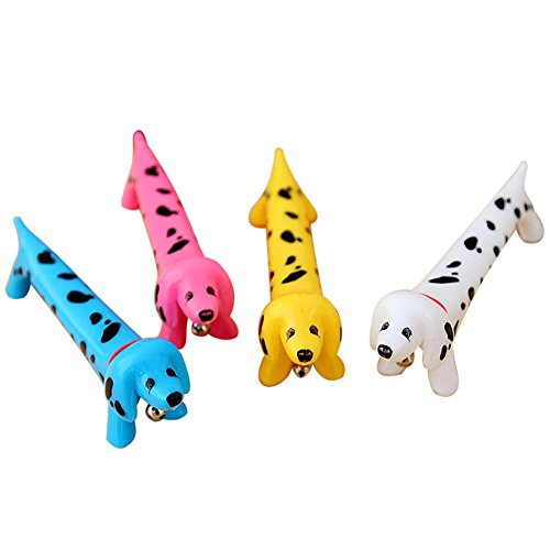 6pz PENNA A SFERA COLORATE CANE Dalmata razza canina con un campanello suona
