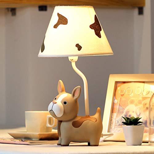 EFGS Dog Shape Resin Lámpara de Mesa para niñas, niños como decoración, Brown