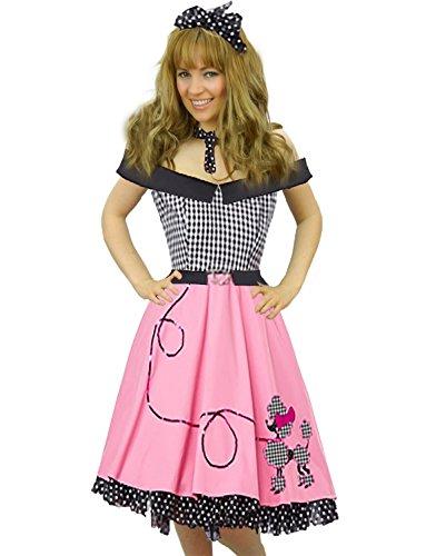 (Yummy Bee - 50er Rock n Roll Swing Fasching Kostüm Rosa Schwarz Vintage Damen Größe 34-48 (48-48))