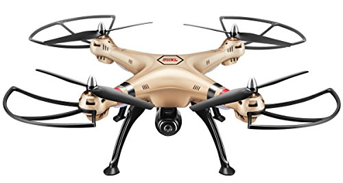 Preisvergleich Produktbild Syma X8HW Live FPV RC Quadrocopter Drohne mit HD Kamera WIFI Kopflos Höheneinstellung Golden