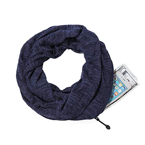 Infinity Schal Baumwolle Verdickung versteckter Reißverschluss Lagerung Pocket Wrap Lätzchen Reise für Smartphone Lippenstift Passport Lightweight, Navy ()