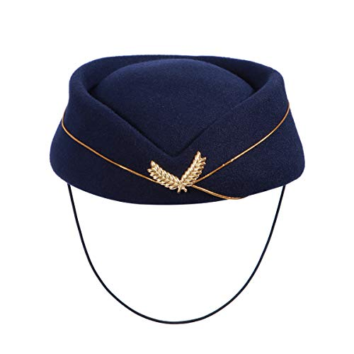 BESTOYARD Frauen Stewardess Hut Stewardess Hut Stewardess Cap Cosplay Kostüm Woolen Flight Attendant Hut Musical Performance Requisiten (Marineblau) Performance Womens Hut