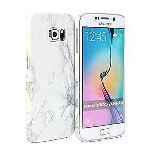 Galaxy S6 Edge Coque, GMYLE Cover Case Print Crystal pour Samsung Galaxy S6 Edge SM-G9250 - Blanc Dessin de Marbre Slim Coque Housse Etui …