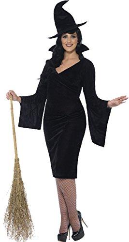 Damen Erwachsene Fancy Halloween Party Kostüm Kurven Sexy Hexe Komplett Kleid Gr. UK Kleid 46-48, schwarz