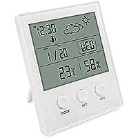 Termo-igrometro digitale da interno con ampio schermo LCD, termometro di monitoraggio dell'aria ambiente con record MIN/MAX, previsioni meteo, funzione C / ° F per sveglia e calendario sveglia