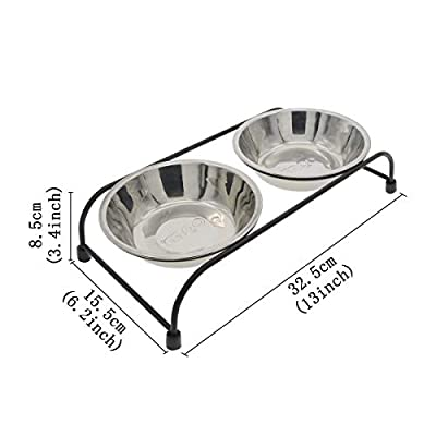 Double Removable Stainless Steel Pet Food Water Bowls with Iron Stand Raised Dog Feeder for Cat Bowl Puppy Bowl Pet Feeder from Tomister