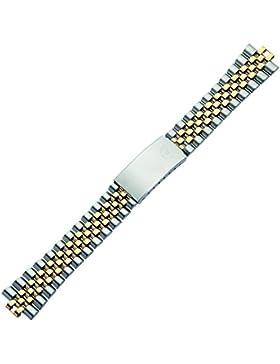Uhrenarmband 18mm Metall bicolor, silber / gold - Uhrband aus Edelstahl mit Rundanstoß - Faltschließe mit Sicherheitsverschluss...