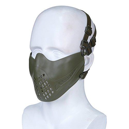 lb Gesichtsmaske Taktische Paintball Schutz Masken Kompatibel mit Goggles und Tactical Helm für Kriegsspiel Halloween (Grün) ()