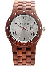 TSAR Wooden Silver Dial Men's Wood Watch - Quintet