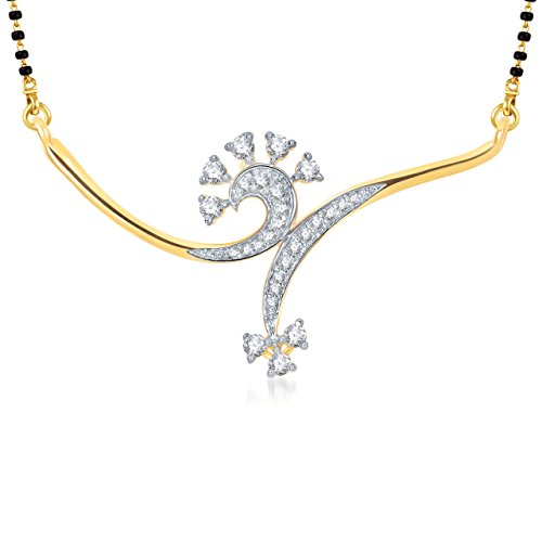 Meenaz Jewellery Gold Plated Mangalsutra Set Pendant Necklace set With Chain in American Diamond Jewellery For Women- Mangalsutra pendant 758