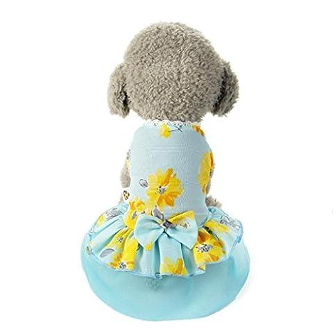 WOCACHI Hunde Sommer Kleider Hund Katze Bogen Tutu Spitze Kleid Haustier Welpen Hund Prinzessin Kostüm Kleidung Blau (XL, Blau)