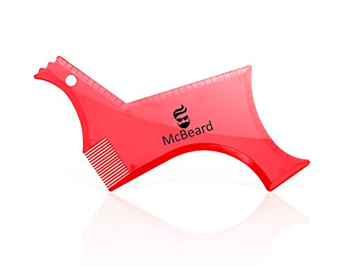 McBeard Pro All in One Beard Shaping Template Tool & Beard Comb. Premium Quality, Ideal for Straight & Curve Cut, Goatee, Sideburns & Neckline. Beautiful Package, Perfect Gift.