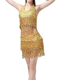 4534417f594f Gyratedream Danse du Ventre Costume Femme Soutien Gorge Haut à Sequins + Ceinture  Jupe Danse Orientale