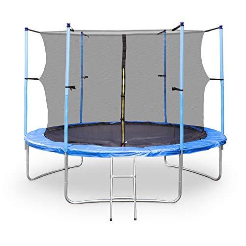 Klarfit Rocketboy 400 Trampolin Gartentrampolin (400 cm Durchmesser, Sicherheitsnetz, Abdeckbaube, bis max. 150 kg belastbar, Stangen gepolstert, Schaumstoff Abdeckung) blau