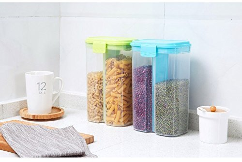 ON GATE Transparent Plastic Lock Food Storage Dispenser Airtight Container  Jar for Cereals, Snacks, Pulses | Home and Kitchen, Jars and Containers,
