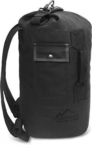 normani Seesack 20 Liter mit Schultergurten und extra Tasche 100% Naturfaser Farbe Schwarz