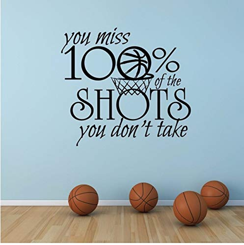 (Lvabc Motivation Sport Zitat Wandtattoo Basketball Sport Zeichen Wandaufkleber Sie Vermissen 100% Aufnahmen, Die Sie Nicht Vinylwand-Kunst 42X38Cm Nehmen)