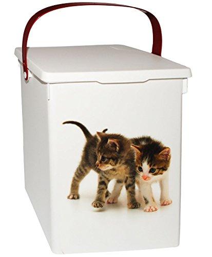 """Futterdose / Futterbox - """" süße Katzen """" - für Tierfutter - Katzenfutter - 5 Liter - Vorratsdose / Aufbewahrungsbox - aus Kunststoff / Dose - Kiste mit Deckel und Tragegriff - Box & Kiste - Haustiere - Katze / Kätzchen - Tierfutterdose - Trockenfutter / Behälter - Plastikdose - Aufbewahrung - Katzenspielzeug"""