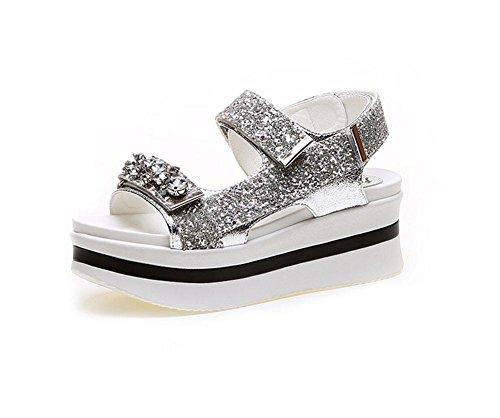 Mot sandales boucle femmes ouvertes paillettes orteil chaussures à fond épais chaussures de sport sauvage Silver