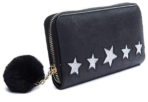 Dielay Damen Geldbörse mit 5 Sternen, Glitter und Pompon - PU Kunstleder - Reißverschluss - 19x10 cm (Schwarz) (Schwarz Glitter Geldbörse)