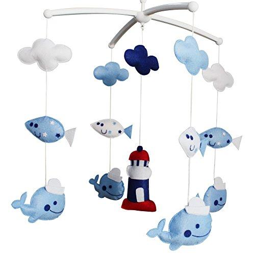 Baby-Traum Musical Mobile, buntes Baby-Geschenk, [Leuchtturm und Wale]