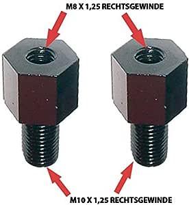 Spiegeladapter Rechtsgewinde M8 Auf M10 X 1 25 Schwarz Paar Spiegel Gewinde Adapter Motorrad Roller Mofa Für Motorradspiegel Auto