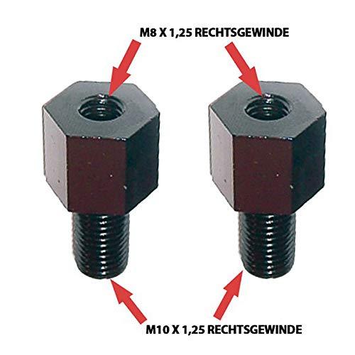 Spiegeladapter Rechtsgewinde M8 auf M10 x 1,25 schwarz Paar Spiegel Gewinde Adapter Motorrad Roller Mofa für Motorradspiegel