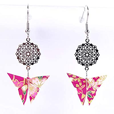 Boucles d'oreilles papillon origami rose et rosace - crochets inox
