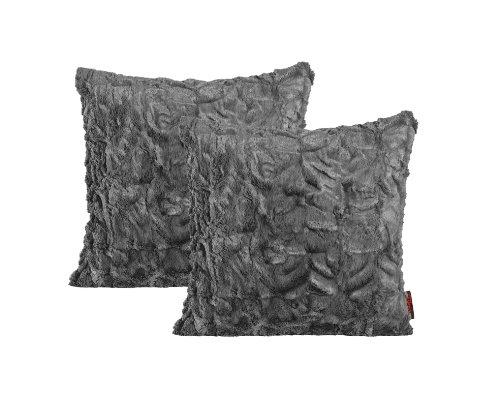 Fluffy Kissenhülle ca. 40 x 40 cm kuschelweicher Plüsch in Felloptik 05 Mittelgrau (2er Set) -