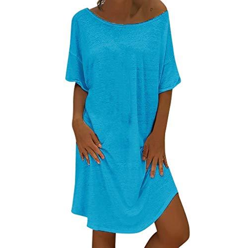 LOPILY Lose Tunika Blusenkleider Damen Sommer Lässige Spitzensaum V-Ausschnitt Kleider Strandkleid Einfarbig Einfach Bequem Freizeit Knielang Sommerkleider Übergröße (X2_Blau, EU-48/CN-4XL)