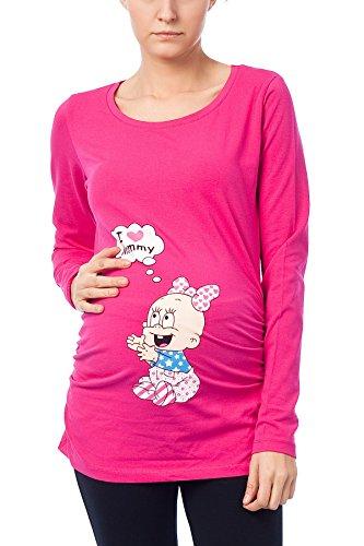 I Love Mommy - Witzige süße Umstandsmode T-Shirt mit Motiv Schwangerschaft, Langarm (S, Magenta) (Kopfhörer Mens Tee)