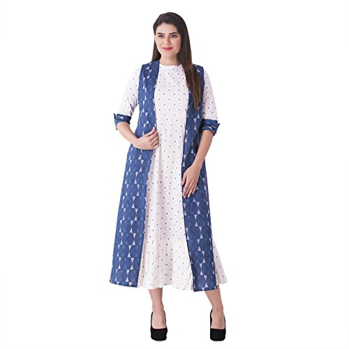 Khushal K Women's Cotton A-Line Kurta With Jacket