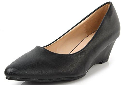 AgeeMi Shoes Damen Slip On Spitz Schließen Zehe Niedriger Keilabsatz Pumps,EuD22 Schwarz 39