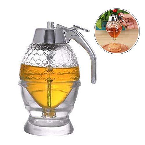 Womdee Acryl Honigsirup Spender, 200 ml Honigkapazität, Tropfen mit Aufbewahrung für einfachen Honig