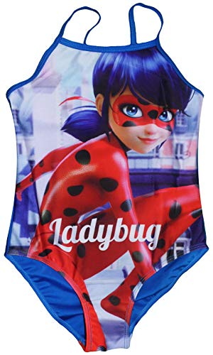 (Miraculous Tales of Ladybug & Cat Noir Mädchen Badeanzug (5/6 Jahre (110/116 cm), Blau))