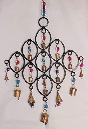 Recyceltes Windspiel mit Glas-Perlen und Glocken, Fair Trade