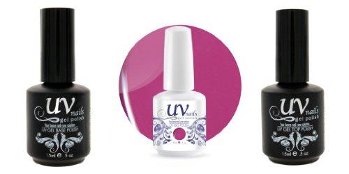 UV-Nails Vernis a Ongles Soak-Off Gel 15ml Marvelous Maroon G38+Base & Top Coat+Polissoir & Lime a Ongles Aviva
