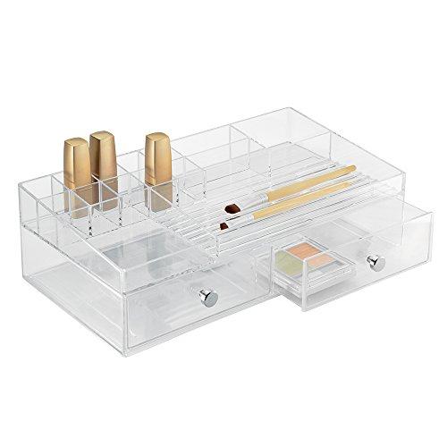 InterDesign Drawers Schubladenbox   Schminkbox mit 15 Fächern & 2 Schubladen zum Sortieren von Make-Up, etc.   Schubladen Organizer auch für Büro Zubehör   Kunststoff transparent