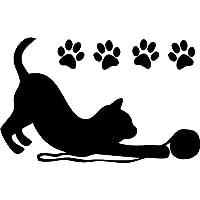 Wandtattoo - Wandsticker - Auto Aufkleber ***Katze 03 inkl. Pfotenset*** - (Größen und Farbauswahl)