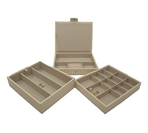 Cordays - Etalage à Bijoux Ensemble de 3 Etages Empilables Fait Main en Qualité Premium : Collection Classique. Crème CDL-10041A