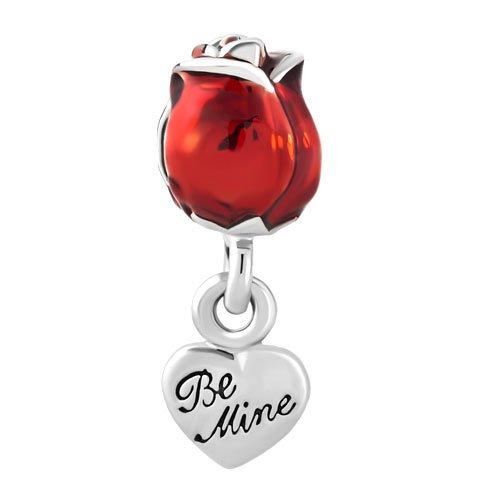 Outcharmed charm a forma di rosa rossa con cuore, compatibile con braccialetti di tipo europeo