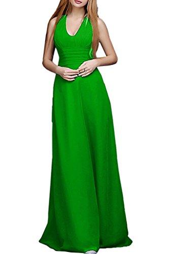 Promgirl House Damen Elegant Chiffon A-Linie Neckholder Abendkleider Party Ballkleider Lang Grün