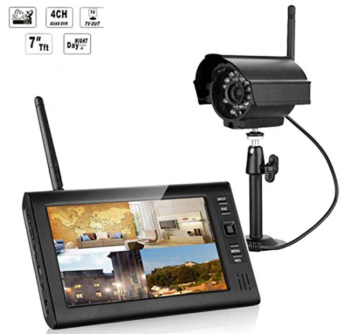 Z-DYQ 7-Zoll-TFT-Digital-2.4G-Wireless-Kameras Audio-Video-Baby-Monitore 4-Kanal-DVR-Sicherheitssystem mit IR-Nachtlicht Kameras Nachtsicht, Push-Alarme, einfacher Fernzugriff 4 Kamera Dvr-system