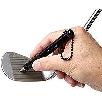 Afilador Estrías Palos de Golf Negro Profesional Groove Cleaner por K&V Golf - Herramienta Limpiar Hierros y Wedges - Mejora el Backspin y Control de la Bola- Kit Limpiar Ranuras Golf Club