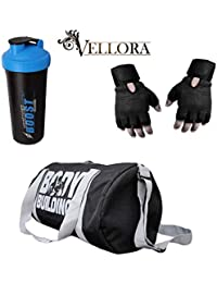 VELLORA Polyester Body Building 25 LTR Long Lasting Material Duffel Bag, Gym Bag (Black) With Thunder Boost Shaker...