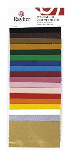 RAYHER 3102600 Wachsfolie, SB-Beutel 18 Farben sortiert, 10 x 5 cm