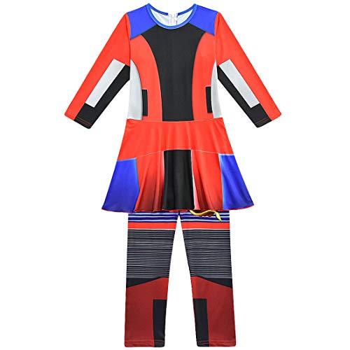 QYS Party City Evie Disfraz de Halloween para niñas, Descendientes 3, Incluye Accesorios,120cm