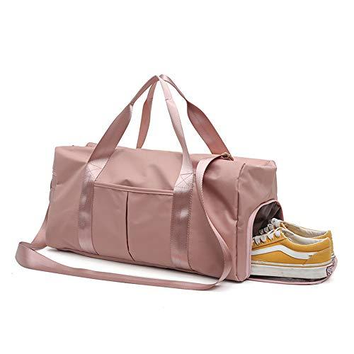 Bolsa de Deporte con Compartimento, Bolsa de Deporte Separada en Seco y Húmedo Gym Duffle Bag Impermeable para Zapatos, Bolsa de Viaje con Correa Unisex (Rosa)