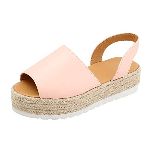 Bhydry sandali estivi donna flat playform tessuti di spessore-bottom sandali scarpe romane(38 eu,rosa)